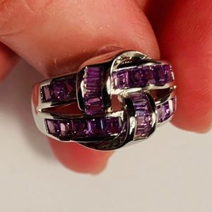 925 Sterling Silver Amethyst Knot Ring